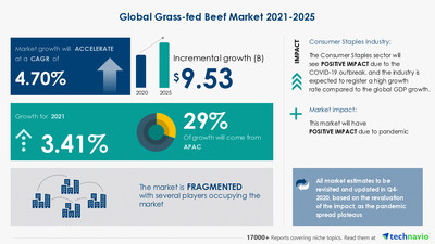 Attractive Opportunities in Grass-fed Beef Market by Product and Geography - Forecast and Analysis 2021-2025