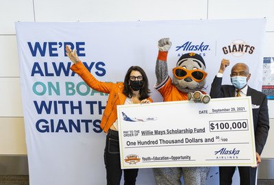 Alaska Airlines presents $100,000 check to the Willie Mays Scholarship Fund, a program that supports college aspirations for San Francisco's Black youth