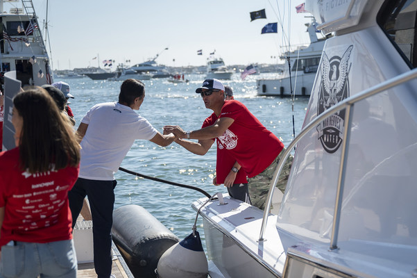 WHOW Tournament Founder and loanDepot CEO Anthony Hsieh personally sent off each of the 38 participating tournament yachts ahead of the tournament launch. He closed the tournament with a similar personal yacht-by-yacht acknowledgement. (photo credit: Pepper Ailor)