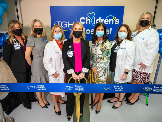 Pictured left to right: Sherri Lewman - VP Service Lines, Melissa Golombek, RN, DNP, MHCM, NE-BC, CPN - Senior Administrator, Women's & Children's Service Lines, Patricia Emmanuel, MD - Medical Director, TGH Children's Hospital, Stacey Brandt - EVP Chief Strategy and Marketing Officer, Kelly Cullen - EVP and COO, Annmarie Chavarria, DNP - Senior VP and CNO, Nikki Hurley, MSN, RN, NE-BC - Director, Women's & Children's Service Line
