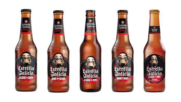 The brewery Estrella Galicia will dress its new special edition with labels that pay homage to La Casa de Papel (Money Heist) (PRNewsfoto/Estrella Galicia)